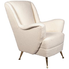 Italian Armchair by ISA Bergamo, 1950s in Holland&Sherry Boucle'