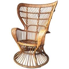 Italian Armchair by Lio Carminati in Rattan & Bamboo Cane, Casa & Giardino 1950s