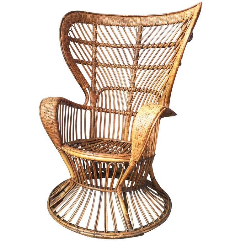 Remarkable Italian Armchair By Lio Carminati In Rattan Bamboo Cane Casa Giardino 1950S Download Free Architecture Designs Scobabritishbridgeorg