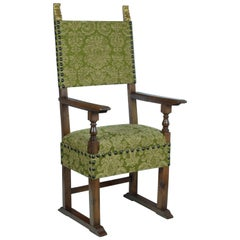Italian Armchair in Carved Walnut Late 16th Century Covered in Green Damask