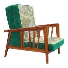 Italian Armchair in Green Walnut in 1940 Silk Flowers Orient Turns Into a Bed