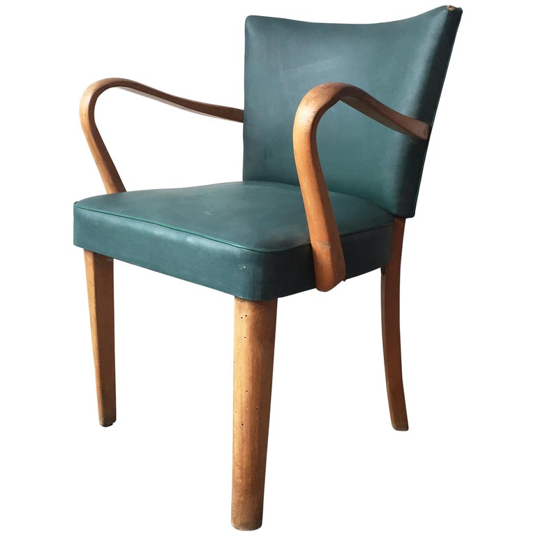 Italienischer Sessel Im Stil Von Thonet In Oakwood Und Grunem Eco