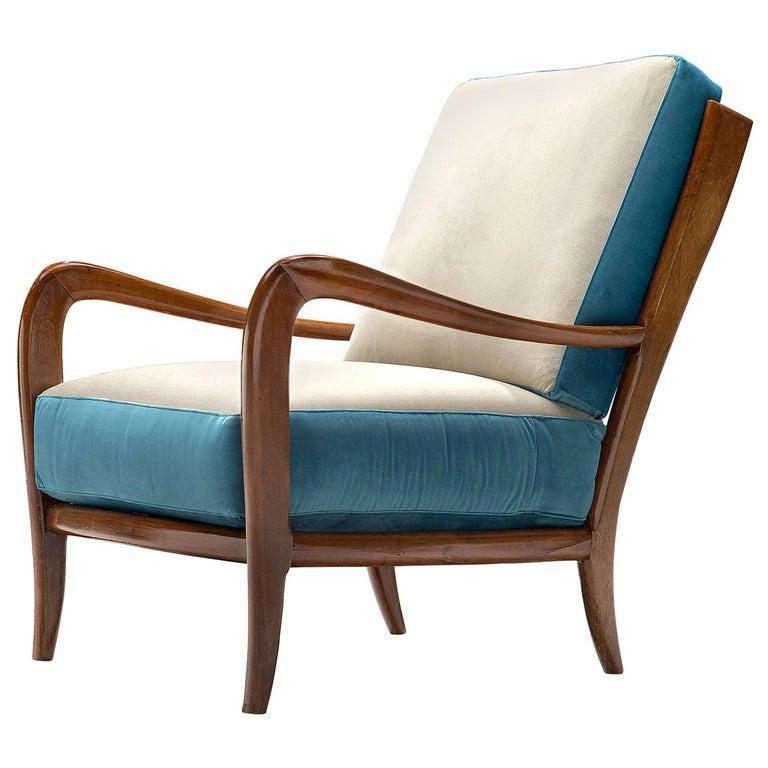 Italian Armchair in Walnut, 1960s For Sale