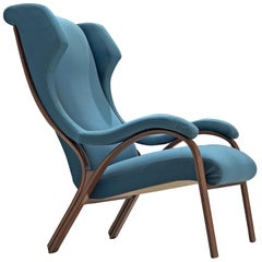 Italian Armchair in Walnut and Petrol Fabric