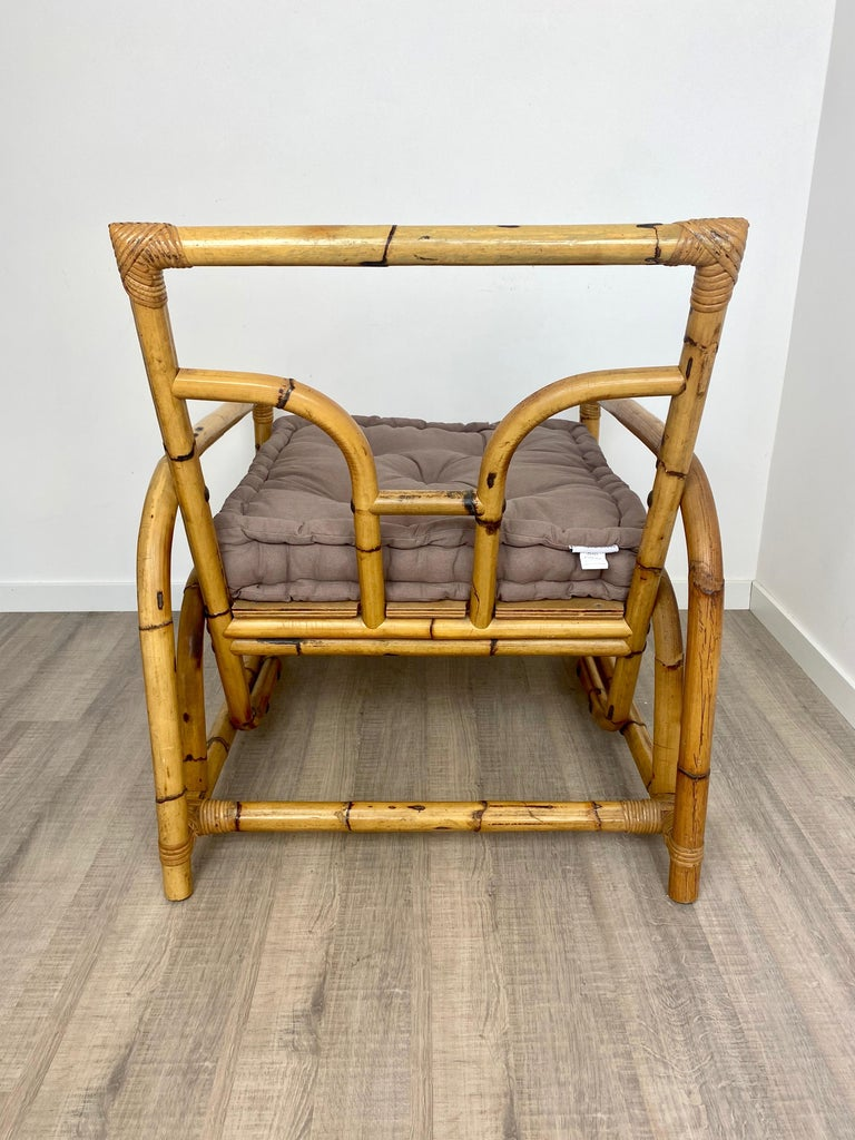 Italian Armchair Lounge Chair Bamboo and Rattan, 1960s For Sale 6
