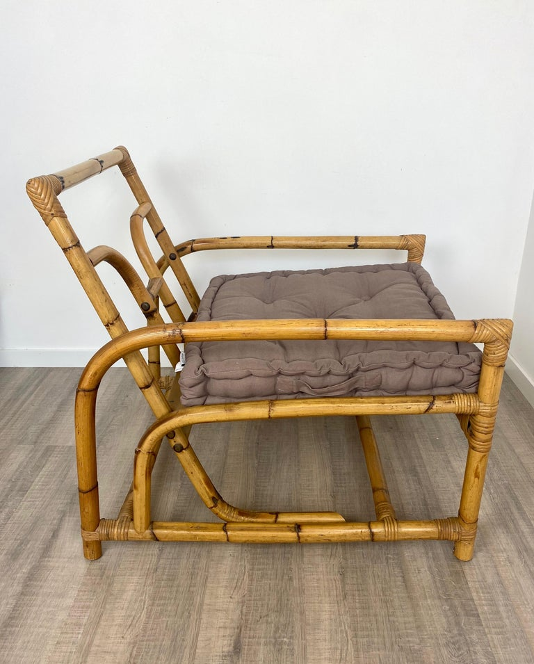 Italian Armchair Lounge Chair Bamboo and Rattan, 1960s In Good Condition For Sale In Rome, IT