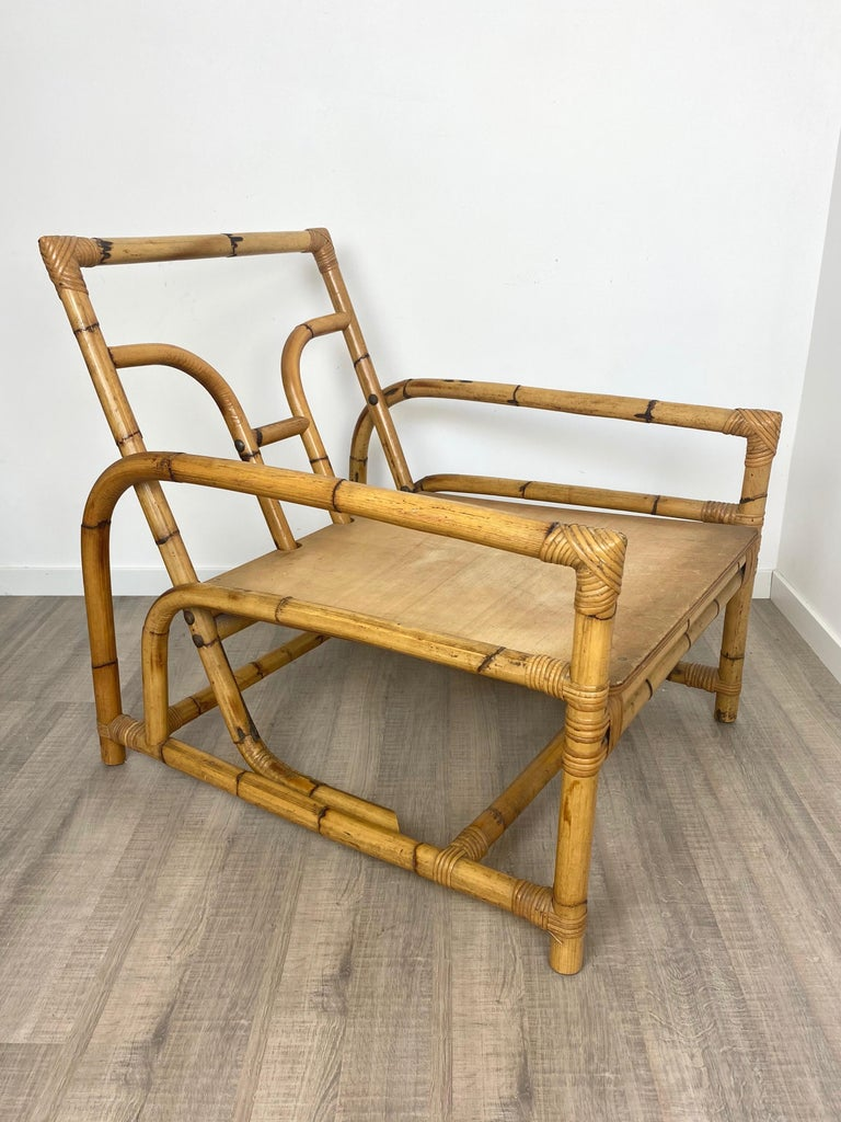 Italian Armchair Lounge Chair Bamboo and Rattan, 1960s For Sale 2
