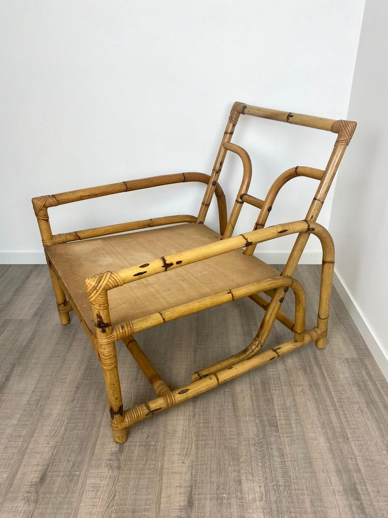 Italian Armchair Lounge Chair Bamboo and Rattan, 1960s For Sale 3