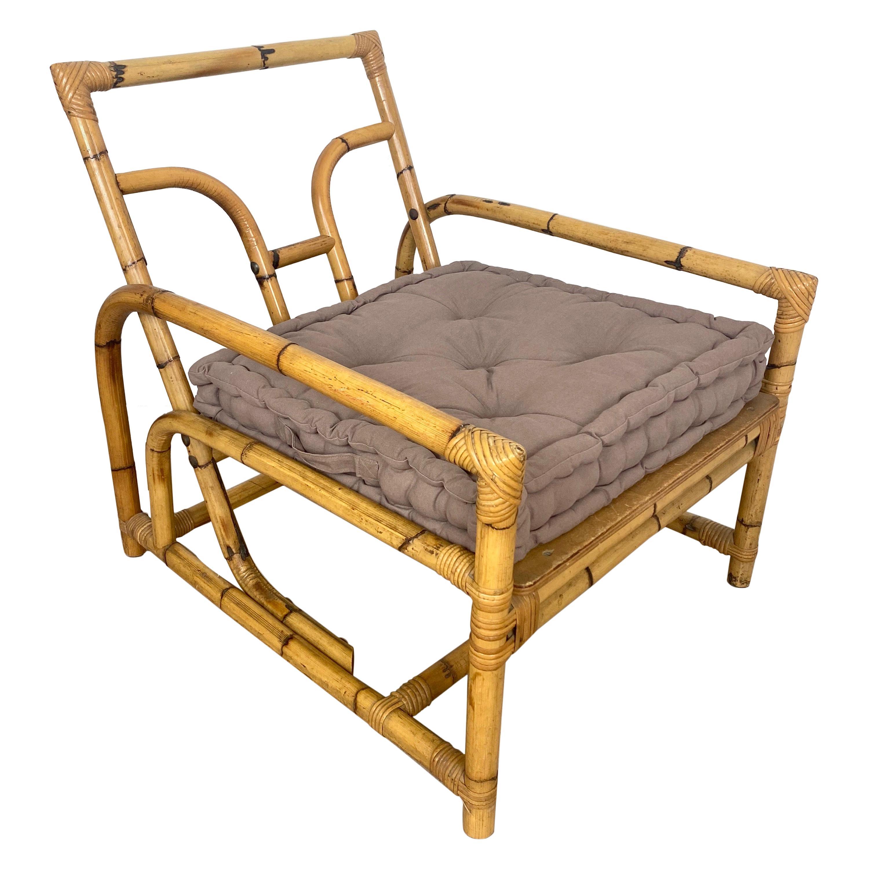 Italian Armchair Lounge Chair Bamboo and Rattan, 1960s