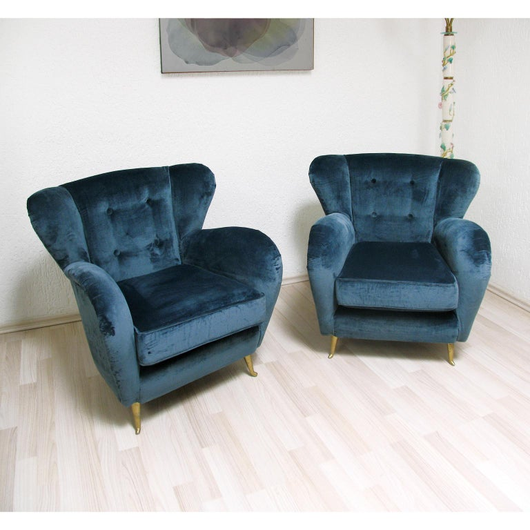 Mid Century Modern Italian Armchairs Guglielmo Ulrich Attributed Design, 1960s In Excellent Condition For Sale In Bochum, NRW