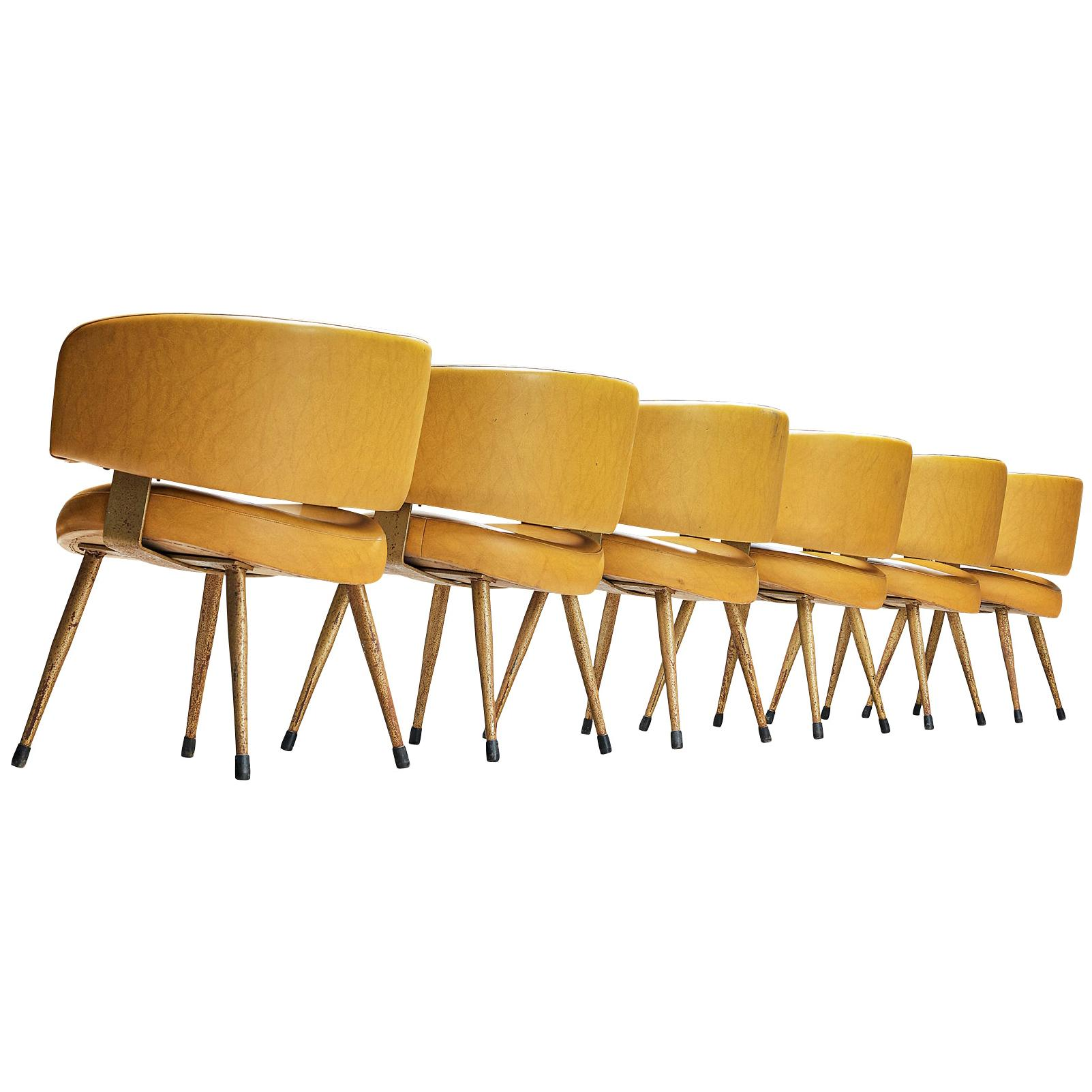 Italian Armchairs in Yellow Leatherette
