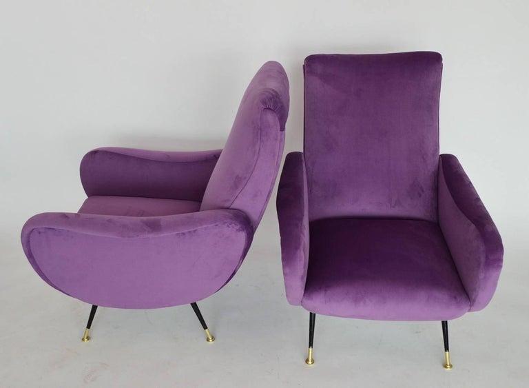 Italian Armchairs Restored with Light Purple Velvet, 1950s 4
