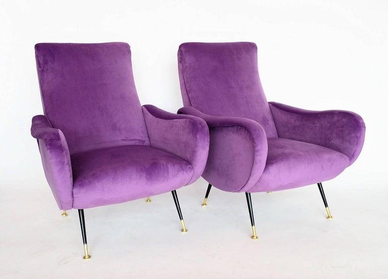 Mid-Century Modern Italian Armchairs Restored with Light Purple Velvet, 1950s