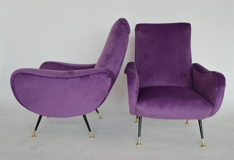 Mid-20th Century Italian Armchairs Restored with Light Purple Velvet, 1950s