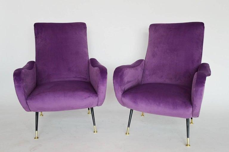Brass Italian Armchairs Restored with Light Purple Velvet, 1950s