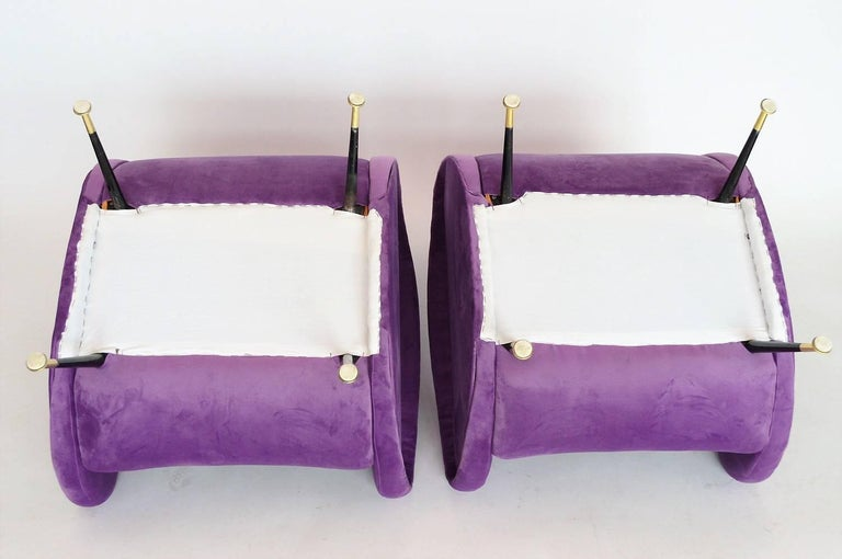 Italian Armchairs Restored with Light Purple Velvet, 1950s 3