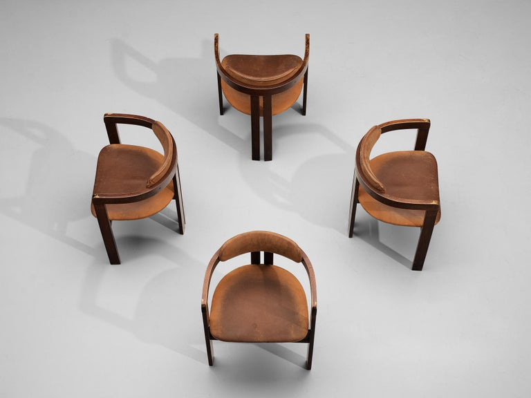 Italian Armchairs with Architectural Bentwood Frame For Sale 4