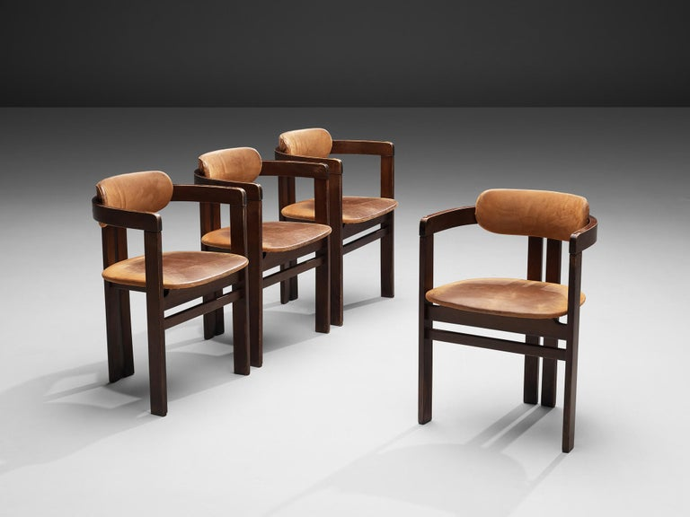Lacquered Italian Armchairs with Architectural Bentwood Frame For Sale