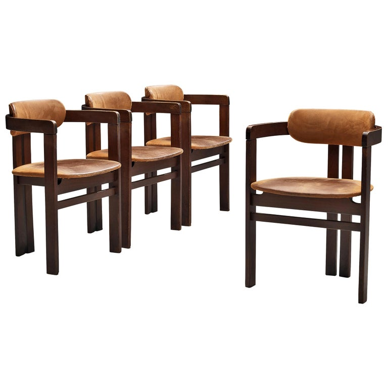 Italian Armchairs with Architectural Bentwood Frame For Sale