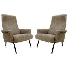 Italian Armchairs with Black Metal Structure from the 1950s