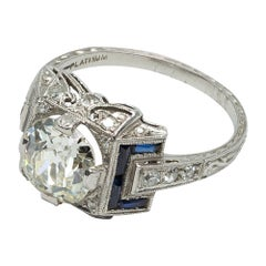 Italian Art Deco 1.80 Carat Diamond, French Cut Blue Sapphires and Platinum Ring