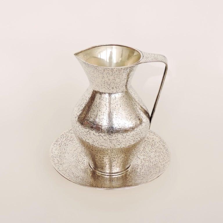 Italian 1940s silver jug and plate attibuted to Gio Ponti Hallmark 800 a separate GP Hallmark and Unreadable Silver Hallmark Plate measurement 25.5 x H 3cm.