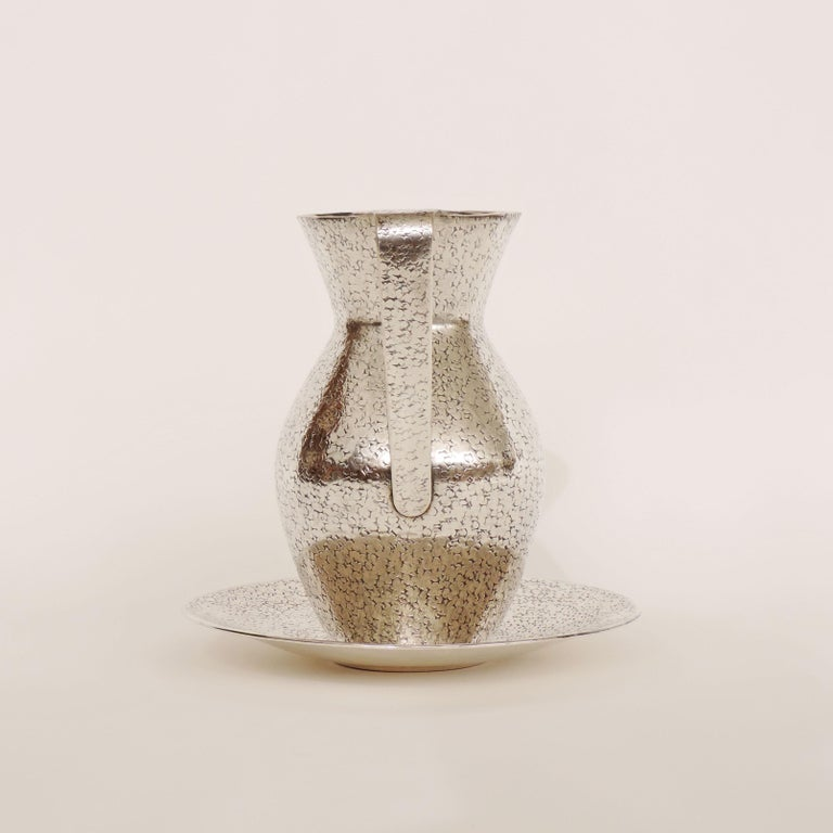 Italian Art Deco 1940s Hammered Silver Jug and Plate Attributed to Gio Ponti 1