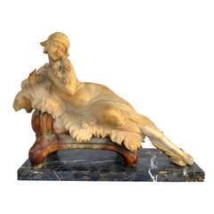 Italian Art Deco Alabaster and Marble Reclining Muse on a Lion Bench Sculpture