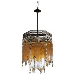 Italian Art Deco Amber Clear Glass Rod Six-Sided Chandelier Brass Mounted