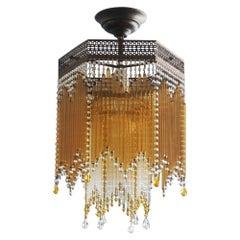 Italian Art Deco Amber Clear Glass Rod Six-Sided Fluch Mount Brass Mounted
