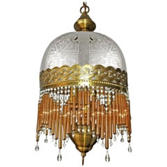 Italian Art Deco and Art Nouveau Amber Beaded Glass Fringe Murano Chandelier
