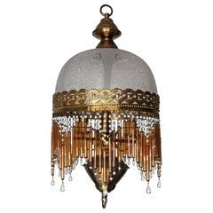 Italian Art Deco and Art Nouveau Amber Beaded Glass Fringe Murano Chandelier