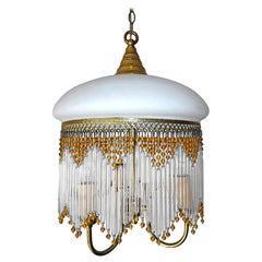 Italian Art Deco & Art Nouveau Amber Beaded Clear Glass Fringe Murano Chandelier