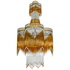 Italian Art Deco Art Nouveau Amber & Clear Beaded Glass Fringe Murano Chandelier
