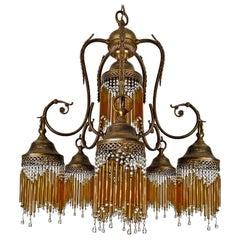 Italian Art Deco Art Nouveau Amber Straw Fringe & Beaded Murano Glass Chandelier