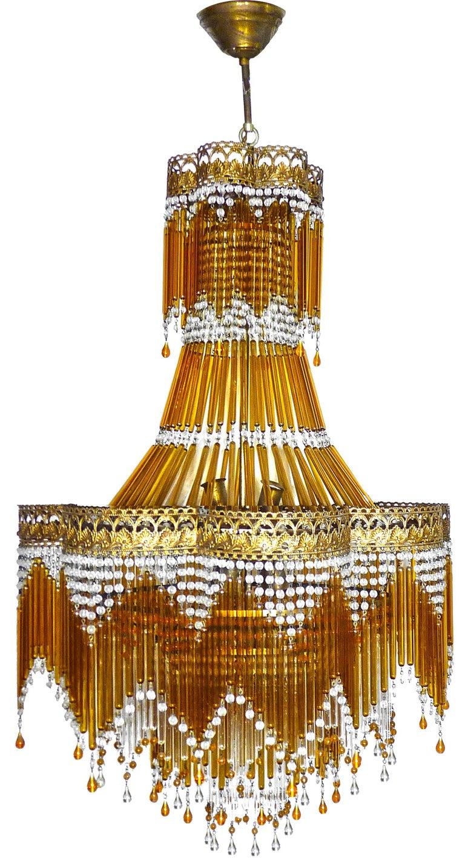 Hollywood Regency Italian Art Deco & Art Nouveau Style Amber Beaded Glass Fringe Murano Chandelier For Sale