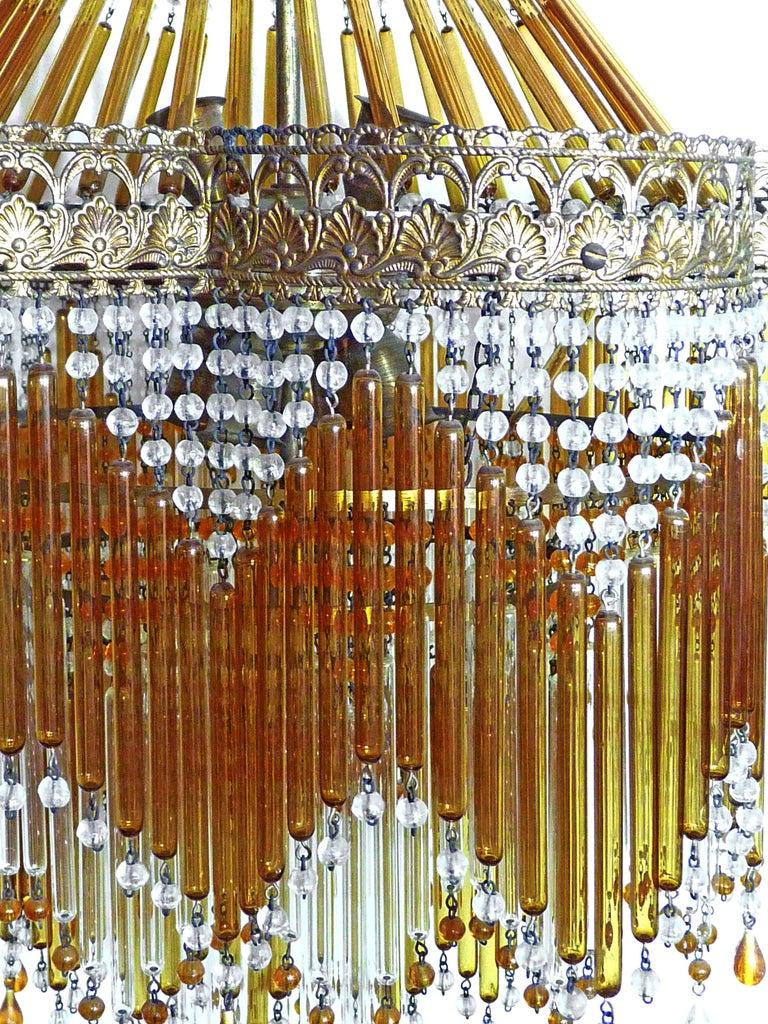 20th Century Italian Art Deco & Art Nouveau Style Amber Beaded Glass Fringe Murano Chandelier For Sale