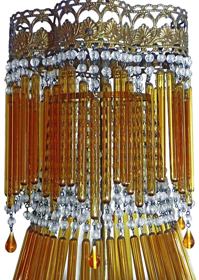 Metal Italian Art Deco & Art Nouveau Style Amber Beaded Glass Fringe Murano Chandelier For Sale