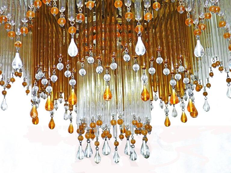 Italian Art Deco & Art Nouveau Style Amber Beaded Glass Fringe Murano Chandelier For Sale 1