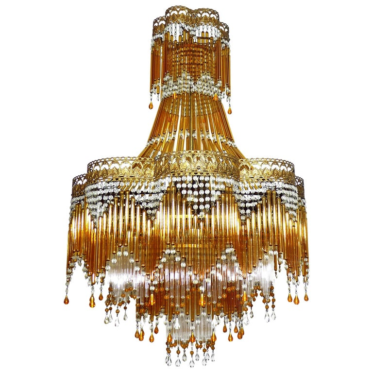 Italian Art Deco & Art Nouveau Style Amber Beaded Glass Fringe Murano Chandelier For Sale