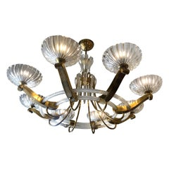 Italian Art Deco Artistic Murano Glass and Brass Chandelier