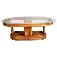 Italian Art Deco Bamboo Coffee Table, 1940s