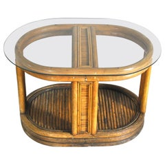 Italian Art Deco Bamboo Coffee Table, 1940s