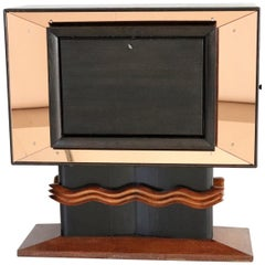 Italian Art Deco Bar Cabinet in Wood and Pink Glass by Vittorio Valabrega, 1930s