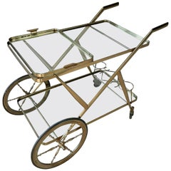 Italian Art Deco Bar Cart / Serving Trolley in Brass by Cesare Lacca, 1960s