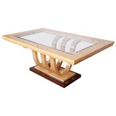 Italian Art Deco Birdseye Maple and Mahogany Pedestal Extension Dining Table