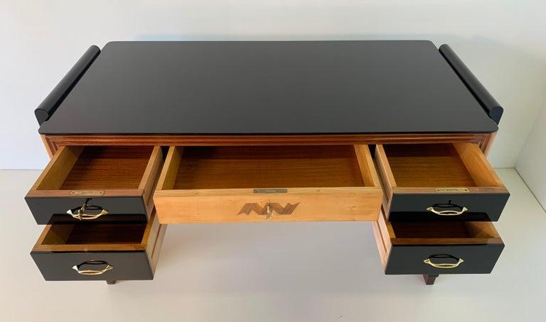 Italian Art Deco Black and Maple Desk by 'Permanente mobili Cantù', 1940s For Sale 7