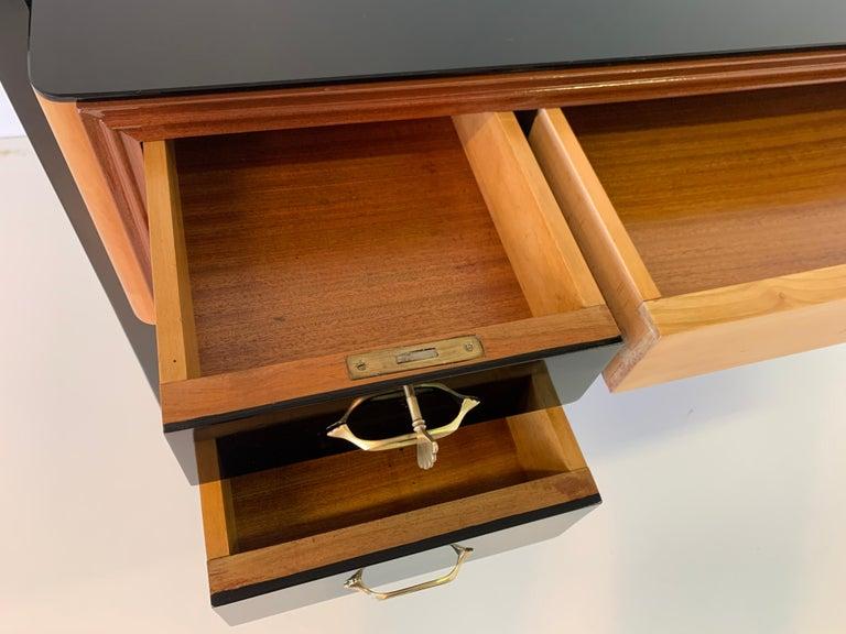 Italian Art Deco Black and Maple Desk by 'Permanente mobili Cantù', 1940s For Sale 8