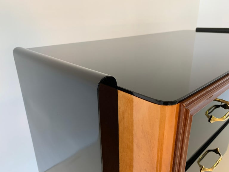 Italian Art Deco Black and Maple Desk by 'Permanente mobili Cantù', 1940s For Sale 4