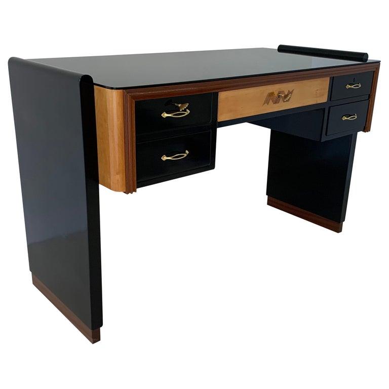 Italian Art Deco Black and Maple Desk by 'Permanente mobili Cantù', 1940s For Sale